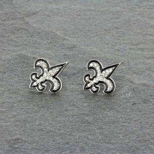 Jewelry - Rhinestone and Black Fleur De Lis Post Earrings